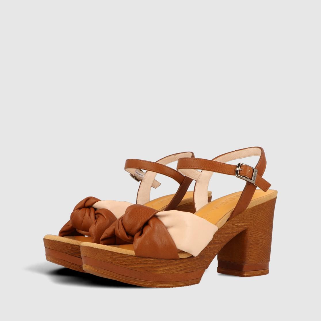 Plateau Sandale, Cognac sandals, Sommerschuhe