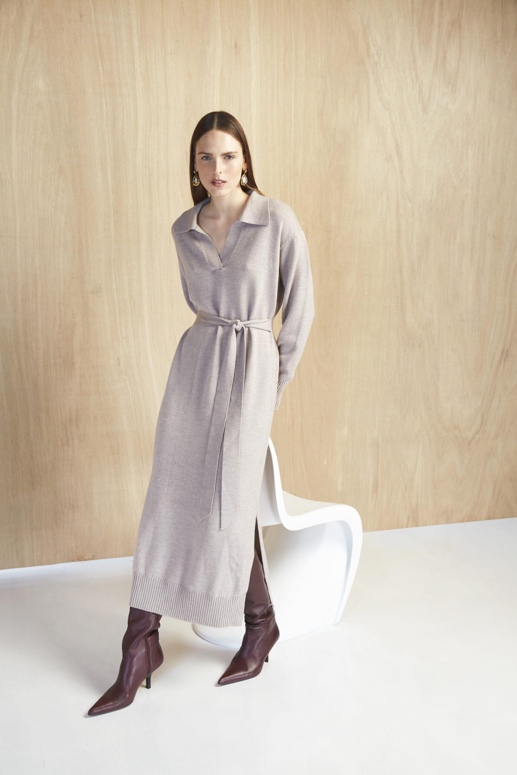 Joey Dress, Magali Pascal, taupe, Knitted Dress